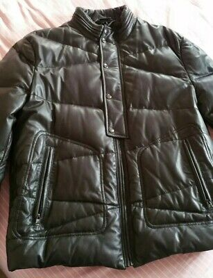 Mens Stunning Leather Versace Collection Brown Quilted Padded jacket! Sz 52 m/l