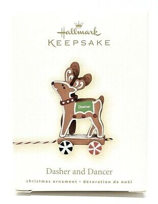 RARE NEW 2009 HALLMARK DASHER AND DANCER GINGERBREAD REINDEER CHRISTMAS ORNAMENT