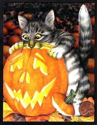 Halloween Cat Kitten Grey Tabby Pumpkin  Smiling -  Small Greeting Card - NEW - Halloween Animated Greetings