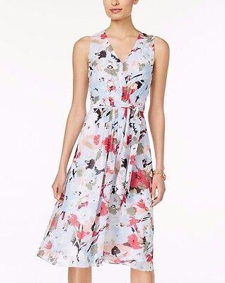 Anne Klein Tie - Anne Klein Blue Bright Water Floral Chiffon Fit Flare Pleated Self-Tie Dress $99