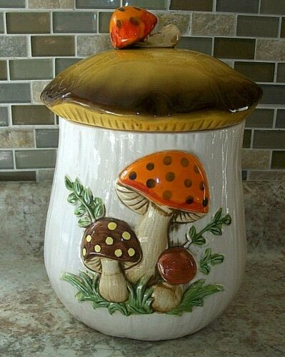 """Vintage Sears and Roebuck Merry Mushroom Canister 70's  Large 11"""" Tall"""