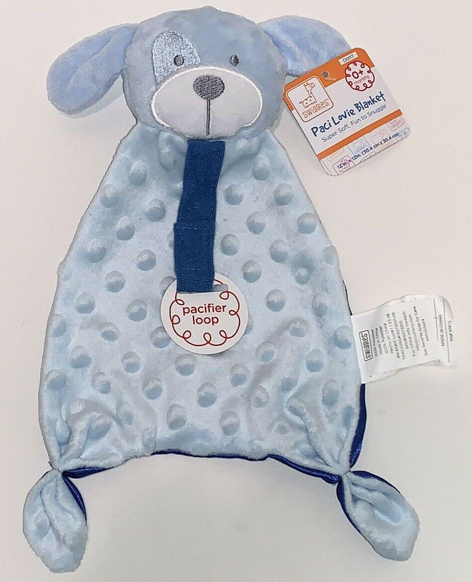Swiggles Baby BLUE PUPPY DOG Paci Lovie Security Blanket W Rattle Minky Dot  - $22.00