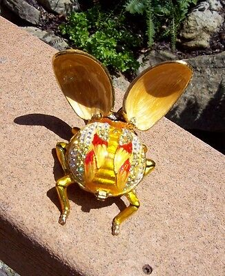 Yellow Gold Ladybug Lady Bug Rhinestone Enamel Jeweled Trinket Box Opens Twice !](Yellow Lady Bug)