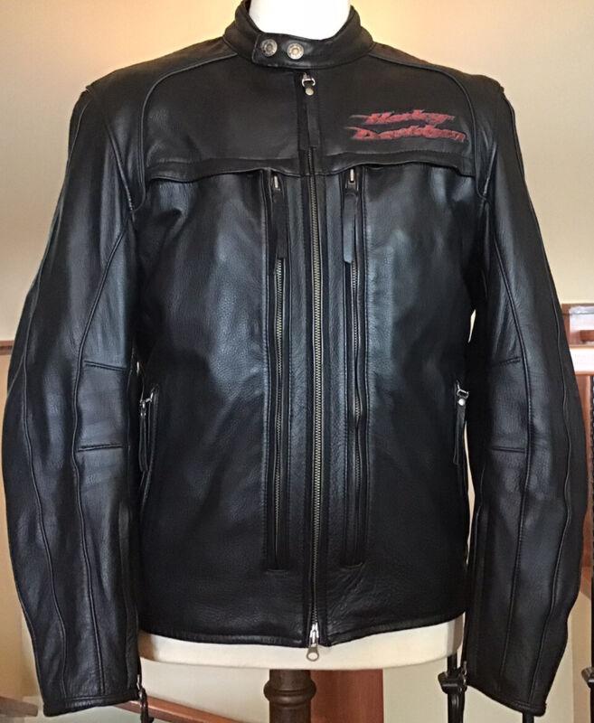 Harley Davidson Men's L Multi-Pocket Vented Black LeatherJacket W/ Zip-Out Liner
