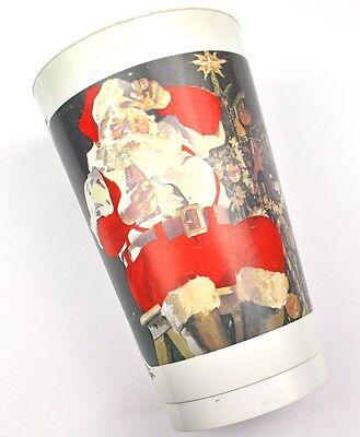 Coca Cola Coke USA Kanada 1980er Plastik Becher Cup - Santa auf Stuhl Motiv