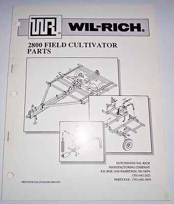 Wil-rich 2800 Field Cultivator Parts Catalog Book Manual