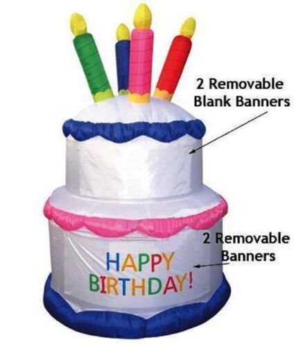 7 Foot Air Blown Inflatable Yard Decoration Birthday Cake W/Candles & BannersNIB