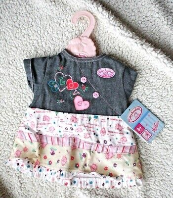 CUTE BABY ANNABELL DENIM DRESS, Incl Hanger! ZAPF CREATION, BRAND NEW with TAGS for sale  Shipping to United States