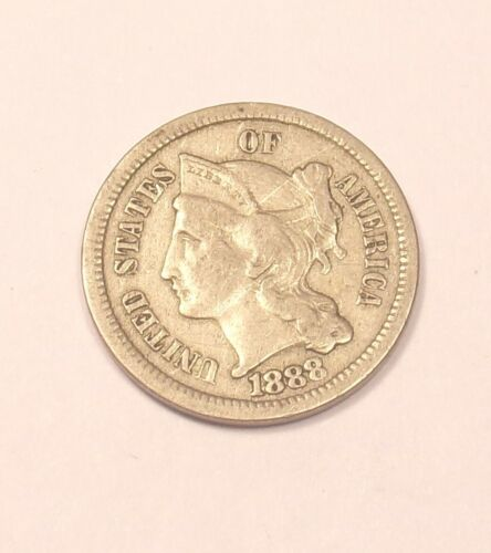1888 Three 3 Cent Piece XF ............Combined Shipping........Lot#5906