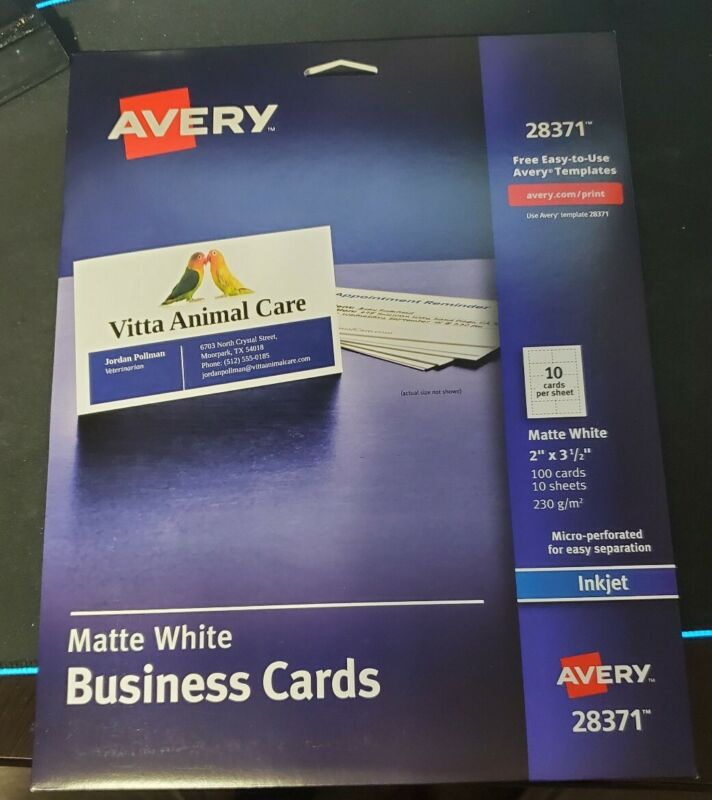Avery 28371 Matte White Ink Jet Printer Business Cards 100 Count NEW SEALED