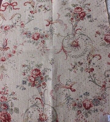 """Lovely Printed French Antique """"Marie Antoinette"""" Linen Doll Scale Fabric c1900"""