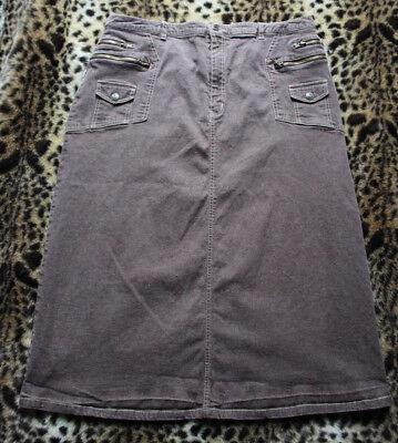 DENIM 24/7 Brown Stretch Cotton Blend Denim A-Line Long Skirt 22W 8-Pockets Slit