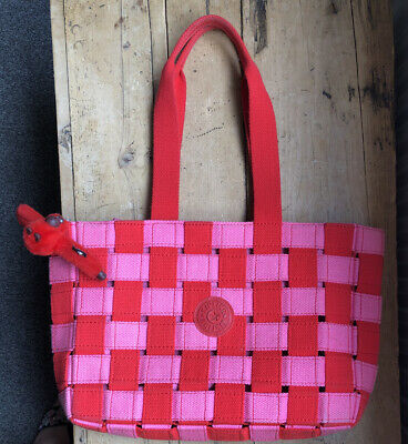 Ladies Red Pink Check Rare Kipling Medium Handbag Tote Jessy Monkey Used Once