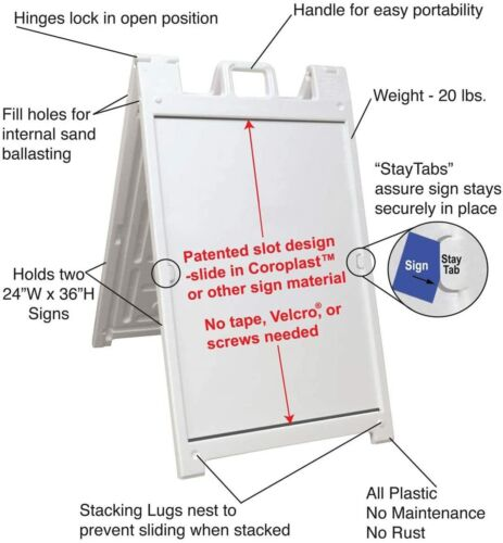 NEW Portable Folding Sidewalk Double Sided Sign Stand, White bswp2436wt