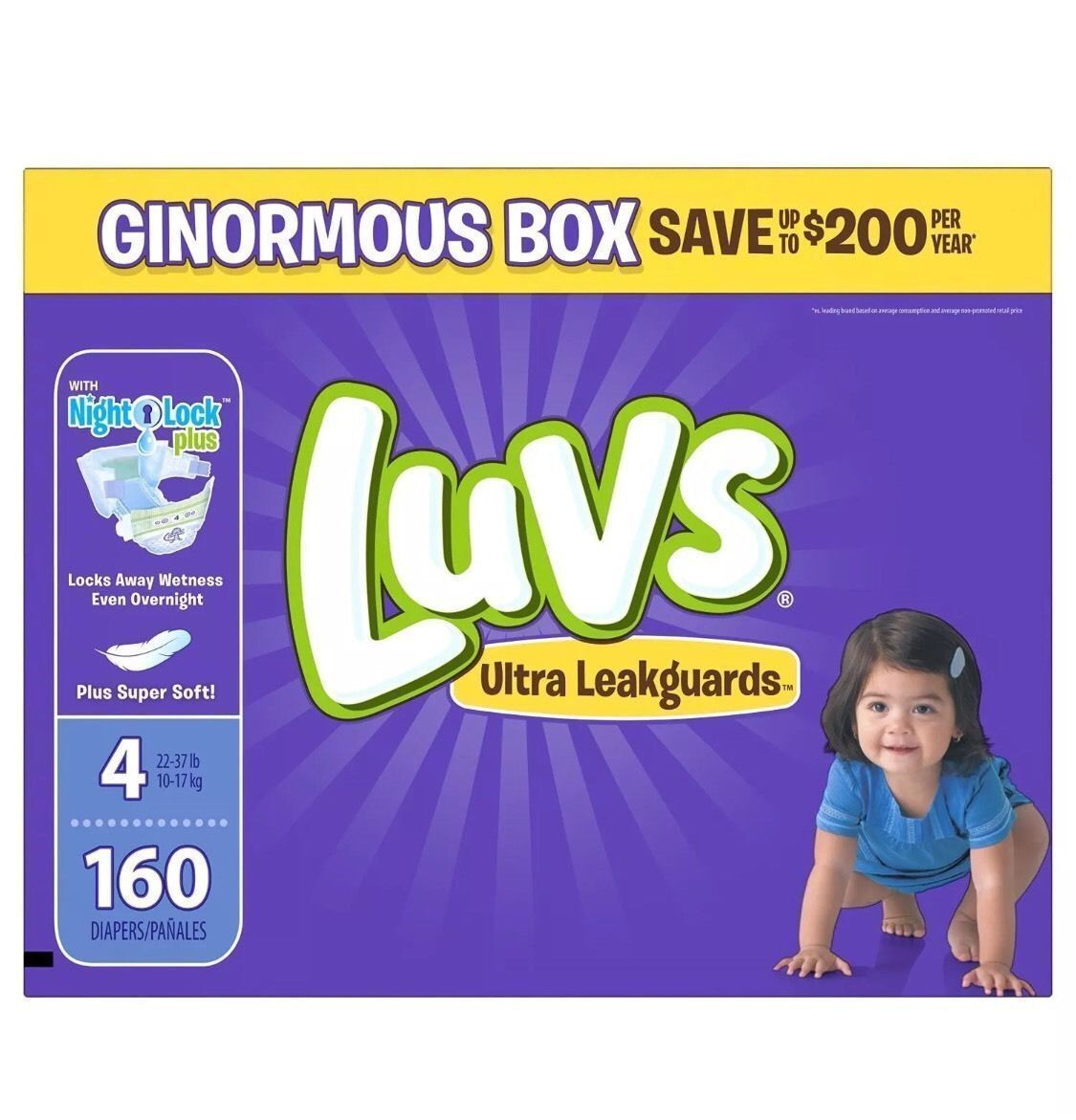 ***NEW*** Luvs Ultra Leakguards Diapers, Size 4, 160 Count ***FREE SHIPPING***