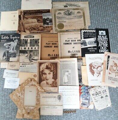 Vintage Lot Of 35 Scrapbook Paper Pieces Brown & Black Ephemera Plat Book & Misc