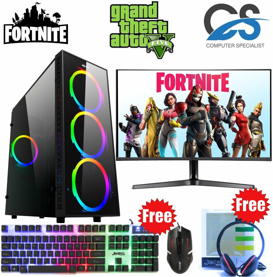 Computer Games - Fast Gaming PC Computer Bundle Intel Quad Core i7 16GB 1TB Win 10 GTX 1650