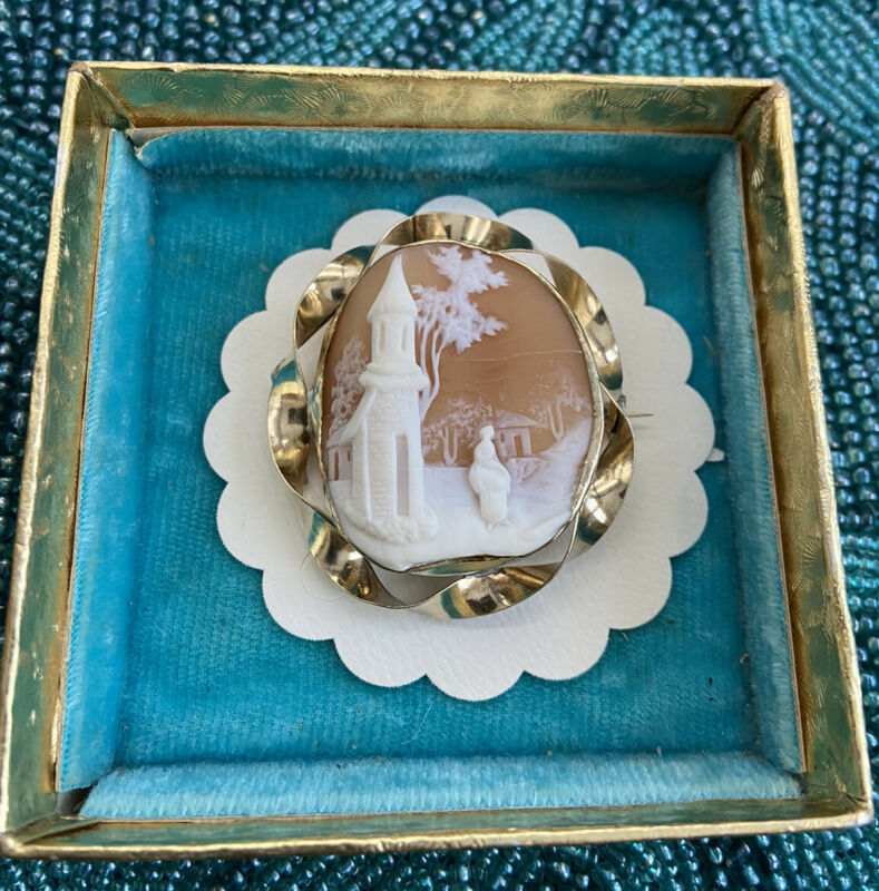 """Antique Victorian Large 1.90""""x1.68"""" Carved Shell Gold Filled Cameo Brooch Nice"""