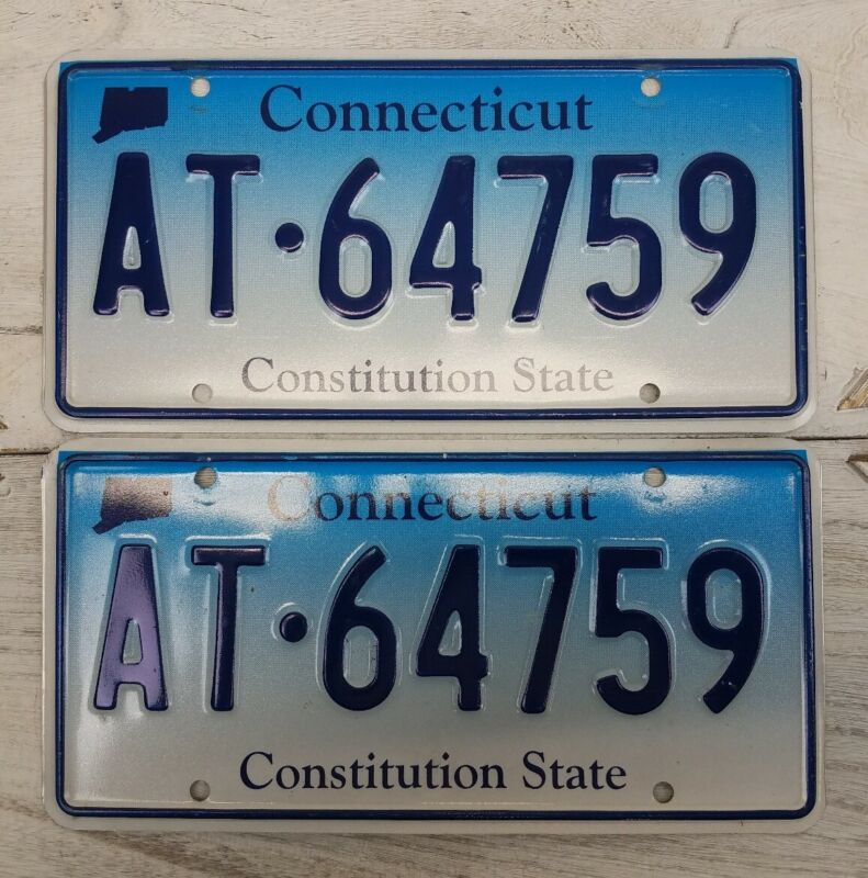 Pair Connecticut License Plate Tag Blue Fade CT CONN RANDOM # Constitution state