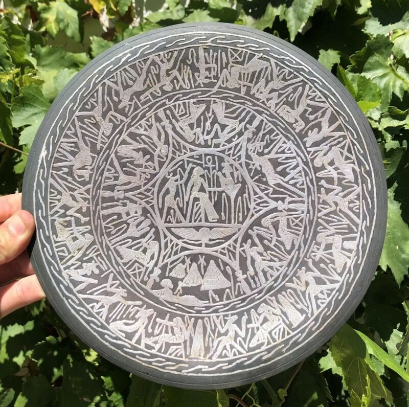 Antique Islamic Ottoman Persian Egyptian Hieroglyphs Copper Plate Silver Inlay