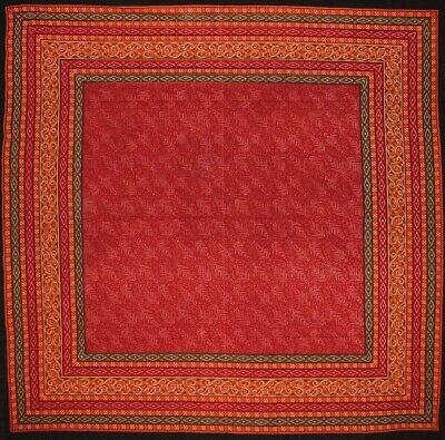 "Calico Print Square Cotton Tablecloth 60"" x 60"" Red"