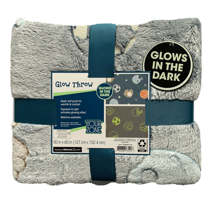 YOUR ZONE - SNUGGLY SOFT GLOW IN THE DARK SPORTS THROW BLANKET 50x60 In