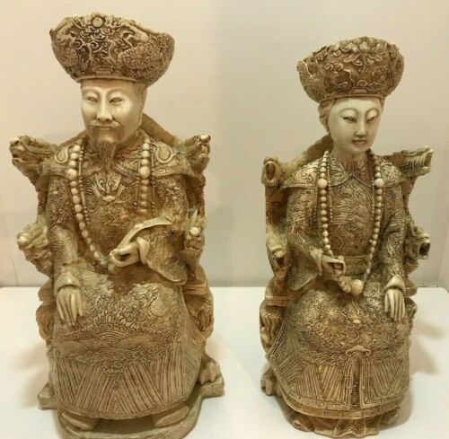 LARGE Vintage Chinese Emperor and Empress Carvings