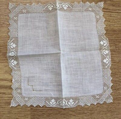 Vintage White Handkerchief With Needle Work Lace