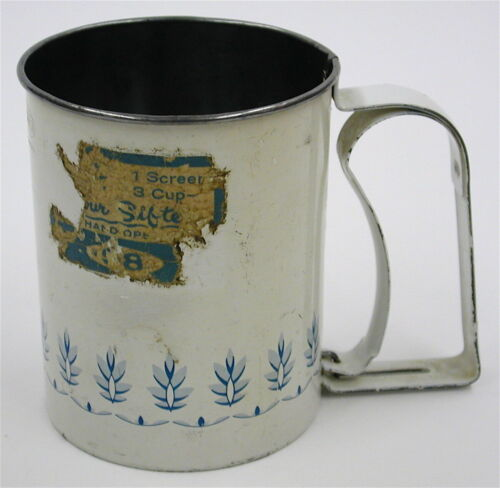 Vintage 1940s Androck Made in USA Flour Sifter Painted Kitchen Decor Baking