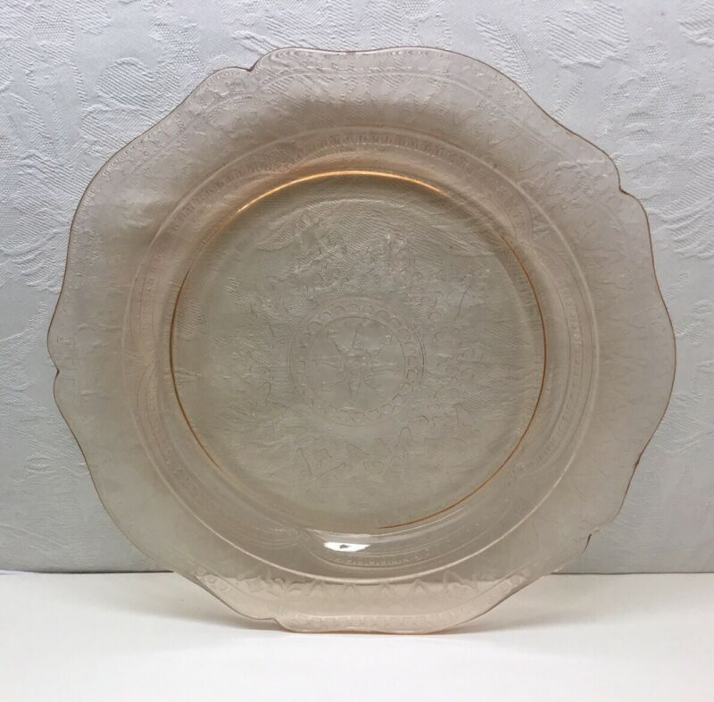 "FEDERAL ""PATRICIAN SPOKE"" DINNER PLATE - Pink, 10.5 Inch, Depression Glass"