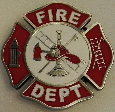FIRE DEPT Maltese Cross Shaped Belt Buckle HYDRANT/HOOK & LADDER/SCRAMBLE