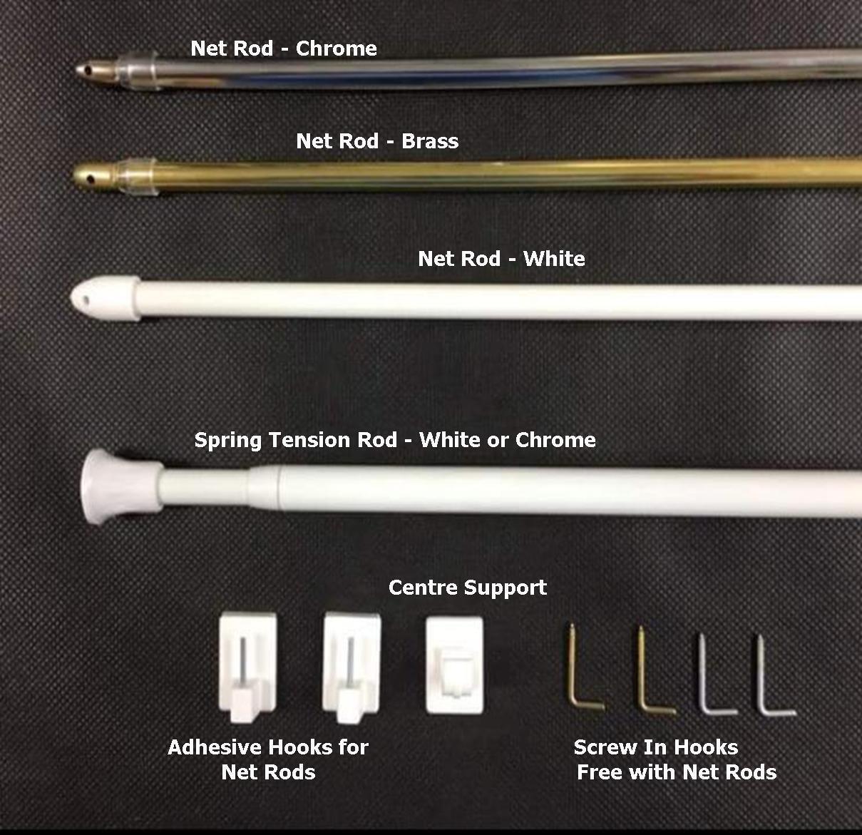 50-300cm Extendable Spring Loaded Net Voile Tension Shower Curtain Rail Pole Rod