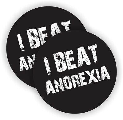 I Beat Anorexia Funny Hard Hat Stickers Motorcycle Welder Helmet Laborer Decals