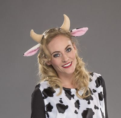 FM - Kostüm Zubehör Haarreif Kuh Hörner Ohren Karneval Fasching  Kuh Kostüm Zubehör