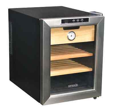 NewAir Cigar Wineador w/Spanish Cedar Racks-Stainless Steel & Black CC-100 NEW