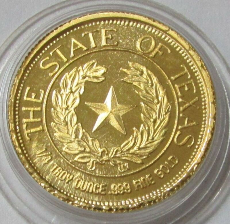 1986 GOLD 1/4oz 999 STATE OF TEXAS SESQUICENTENNIAL LONE STAR RARE MEDALLION