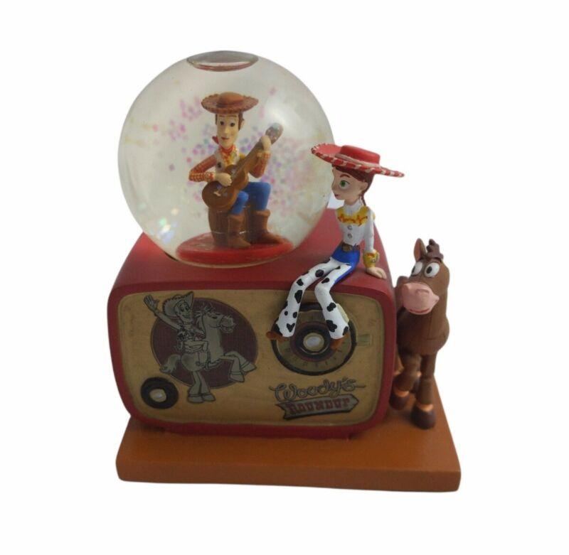 RARE Toy Story Disney Woody Jessie & Bullseye Roundup Snow Globe - FLAW *READ*