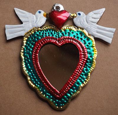 Colourful Mexican Tin Mirror Heart Milagro- Folk Art Oaxaca token Miracle