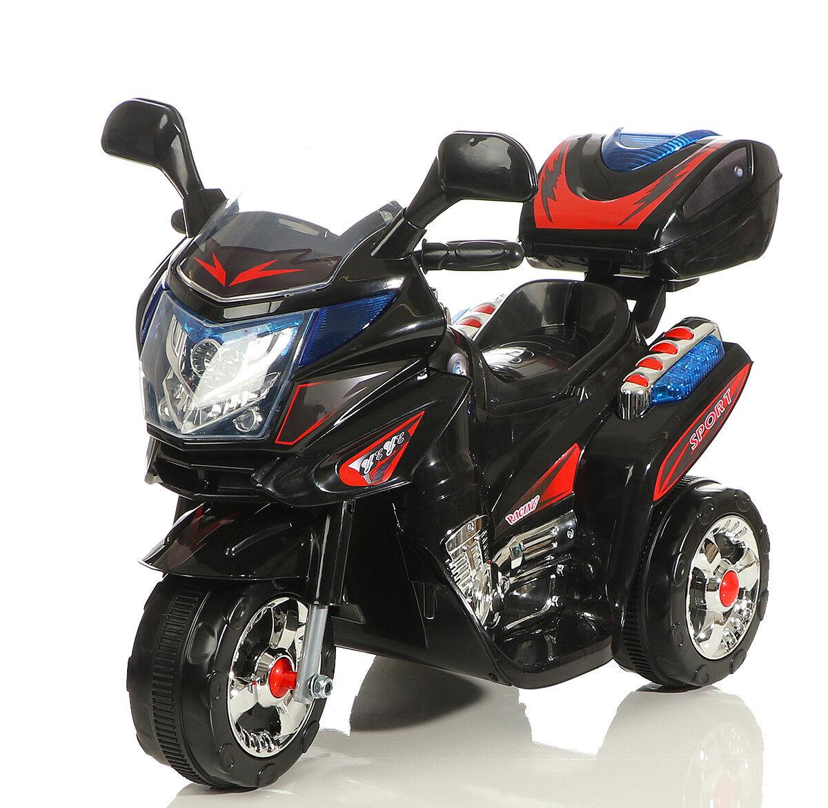 Kinder Polizei Elektrofahrzeug Elektro Akku Bike Dreirad Motorrad 9309 Schwarz