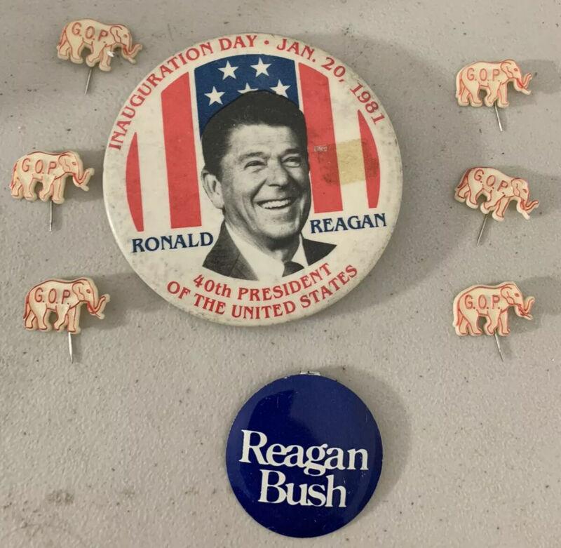 Lot 8 Ronald Reagan Inauguration Bush GOP Lapel Pins Presidential Politics RARE
