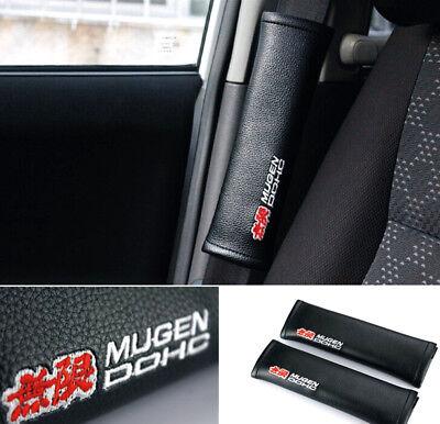 2Pcs Mugen Hohc Car Seat Belt Shoulder Pads Cushion Leather To Protect