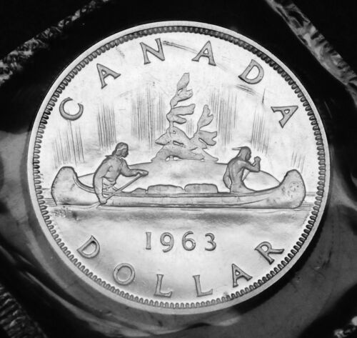 1963 Canadian silver $1 coin beautiful detail stored in original mint cello