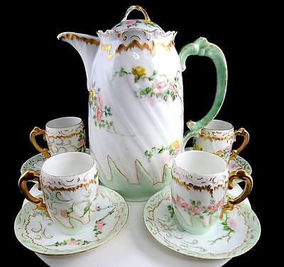 FRENCH LIMOGES ANTIQUE DEMITASSE 9 PIECE CHOCOLATE POT & CUP AND SAUCER SET