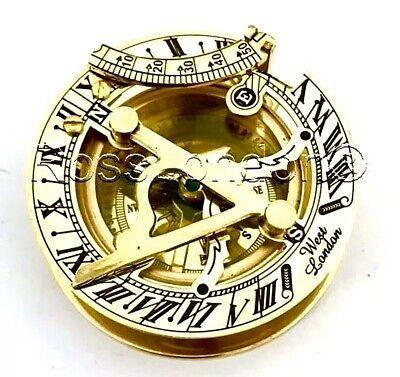 Brass Sundial Compass -Solid Brass Pocket Sundial - West London