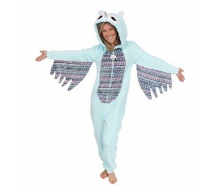 Owl Pajamas womens XL 1-pc union suit Zip up Jumpsuit hoodie wings costume