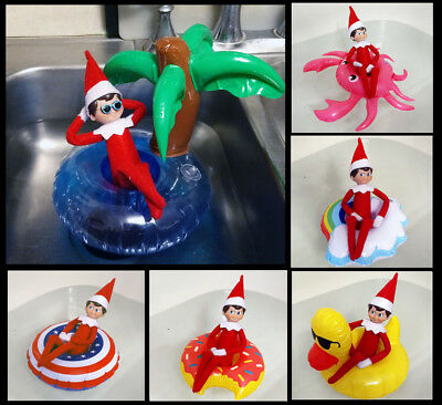 Elf on a Shelf Inflatable Pool Float - Funny Scout Elf prop - Mini Swimming Ring