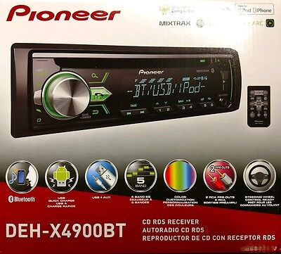 Pioneer Deh X4900bt Cd Rds Receiver Aux Usb Bt