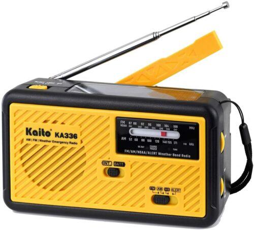 Kaito KA336 Emergency AM FM NOAA Weather Alert Radio with Solar and Crank