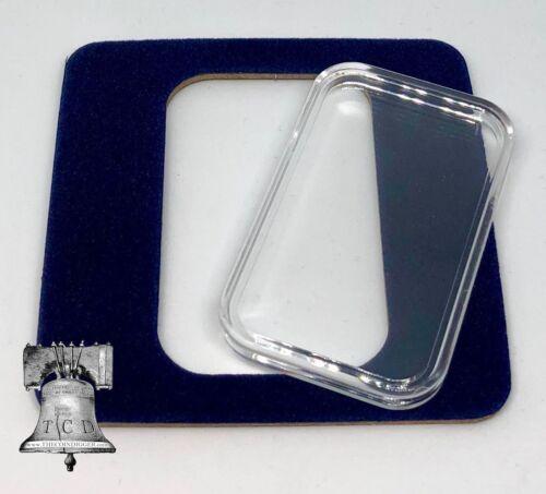 Air-tite Coin Holder Blue Velvet Display Card Insert + Silver Bar Capsule Case