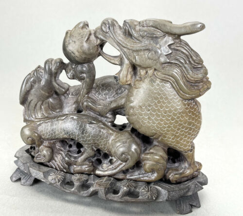 VINTAGE CHINESE CARVED SERPENTS From STONE - $189.00